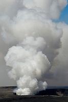 Sunrise, Damaged visitor viewpoint area, Halemaumau crater eruption, Kilauea volcano, Hawaii, USA Volcanoes National Park, The Big Island of Hawaii, USA