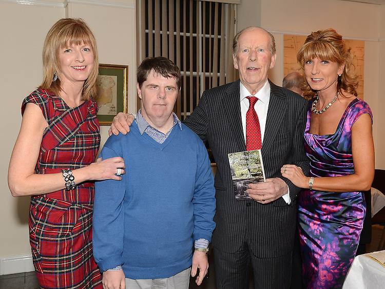 Michael Bohan pictured with his daughters Breeda and Gretta and son Michael Jnr. at the launch of his book 'The Arresting Tales Of Michael F' at the Govenors house Millmount. Photo:Colin Bell/pressphotos.ie