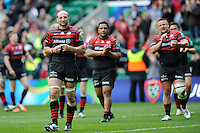 Steve Borthwick of Saracens on a victory lap after winning the Heineken Cup semi-final match between Saracens and ASM Clermont Auvergne at Twickenham Stadium on Saturday 26th April 2014 (Photo by Rob Munro)