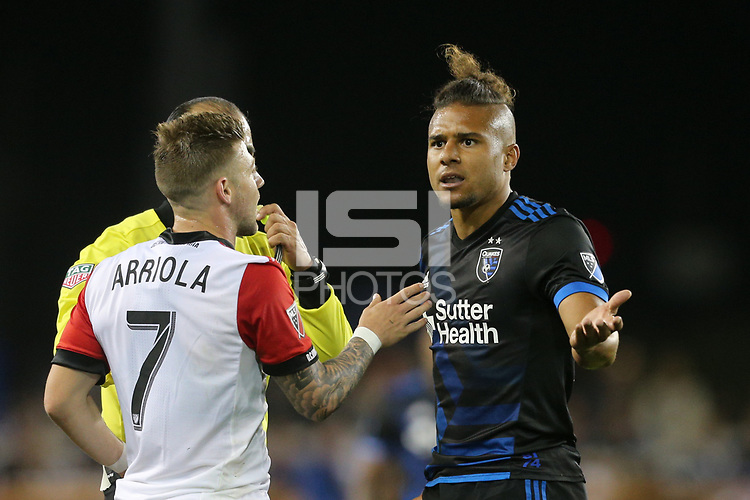 San Jose, CA - Saturday May 19, 2018: Quincy Amarikwa, Paul Arriola during a Major League Soccer (MLS) match between the San Jose Earthquakes and D.C. United at Avaya Stadium.