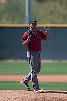 Arizona Diamondbacks relief pitcher Anfernee Benitez (14) during a Spring Training game against Meiji University at Salt River Fields at Talking Stick on March 12, 2018 in Scottsdale, Arizona. (Zachary Lucy/Four Seam Images)