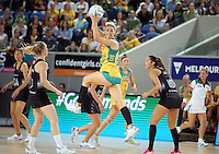 04.09.2016 Australia's Clare McMeniman in action during the Netball Quad Series match between the Silver Ferns and Australia played at Margaret Court Arena in Melbourne. Mandatory Photo Credit ©Michael Bradley.