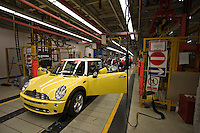 Manufactoring workers producing cars at the BMW Mini plant at Cowley Oxford.<br /> <br /> &copy; SHOUT.<br /> Exact date unknown<br /> john@shoutpictures.com<br /> www.shoutpictures.com