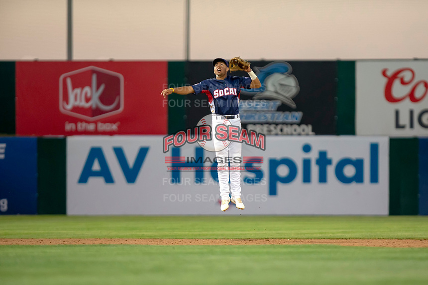 Alan Trejo (2) of the Lancaster JetHawks in action against the North Division during the 2018 California League All-Star Game at The Hangar on June 19, 2018 in Lancaster, California. The North All-Stars defeated the South All-Stars 8-1.  (Donn Parris/Four Seam Images)