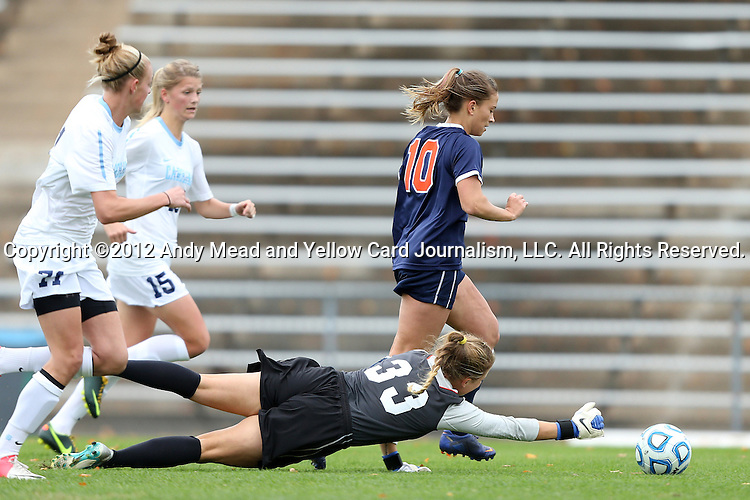 28 October 2012: Virginia's Caroline Miller (10) pushes the ball past UNC's Adelaide Gay (33), Katie Bowen (NZL) (15), and Hanna Gardner (71) before scoring the game's only goal into an empty net. The University of North Carolina Tar Heels played the University of Virginia Cavaliers at Fetzer Field in Chapel Hill, North Carolina in a 2012 NCAA Division I Women's Soccer game. Virginia defeated UNC 1-0 in their Atlantic Coast Conference quarterfinal match.