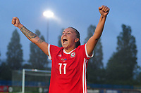 Natasha Harding of Wales Women's' celebrates at full time during the Women's International Friendly match between Wales and New Zealand at the Cardiff International Sports Stadium in Cardiff, Wales, UK. Tuesday 04 June, 2019
