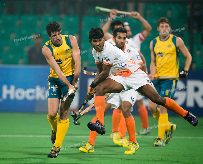 Mens Hockey World league Final Delhi 2014<br /> Day 4, 15-01-2014<br /> Australia v India<br /> Russel Ford<br /> Photo: Grant Treeby / treebyimages