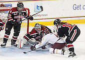 Sonia St. Martin (NU - 12), Chloe Desjardins (NU - 29), Melissa Bizzari (BC - 4), Hayley Scamurra (NU - 14) - The Boston College Eagles defeated the Northeastern University Huskies 3-0 on Tuesday, February 11, 2014, to win the 2014 Beanpot championship at Kelley Rink in Conte Forum in Chestnut Hill, Massachusetts.