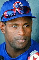 Sammy Sosa of the Chicago Cubs before a 1999 Major League Baseball season game against the Los Angeles Dodgers in Los Angeles, California. (Larry Goren/Four Seam Images)