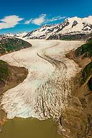 Aerial view, Mendenhall Glacier, near Juneau, Alaska USA.