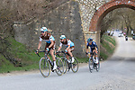The breakaway Alexandre Geniez (FRA) AG2R La Mondiale and teammate Nico Denz (GER), Diego Rosa (ITA) Team Sky and Leo Vincent (FRA) Groupama-FDJ on sector 5 Lucignano d'Asso during Strade Bianche 2019 running 184km from Siena to Siena, held over the white gravel roads of Tuscany, Italy. 9th March 2019.<br /> Picture: Seamus Yore | Cyclefile<br /> <br /> <br /> All photos usage must carry mandatory copyright credit (© Cyclefile | Seamus Yore)