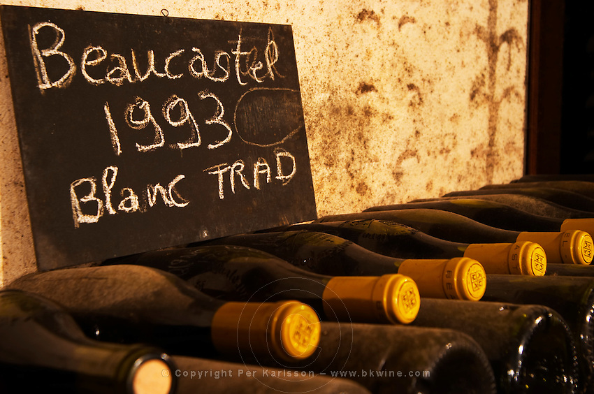 Pile of bottles of Beaucastel blanc white wine 1993 traditionel written on a chalk board. Chateau de Beaucastel, Domaines Perrin, Courthézon Courthezon Vaucluse France Europe