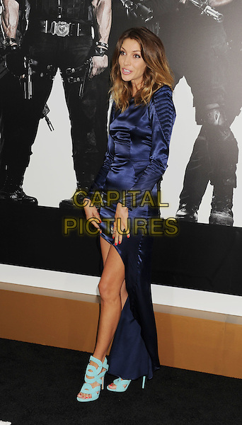 Dawn Oilveri.'The Expendables 2' premiere held at The Grauman's Chinese Theatre, Hollywood, California, USA..15th August 2012.full length blue dress turquoise sandals shoes mini long sleeves train .CAP/ROT/TM.©Tony Michaels/Roth Stock/Capital Pictures