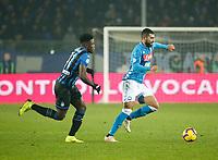 Duvan Zapata of Atalanta Raul Albiol of Napoli  during the  italian serie a soccer match,Atalanta - SSC Napoli at  the Atleti azure d'italia   stadium in Bergamo Italy , December 03, 2018