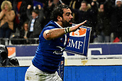 February 1st 2019, St Denis, Paris, France: 6 Nations rugby tournament, France versus Wales;  Yoann Huget (fr) celebrates scoring his try