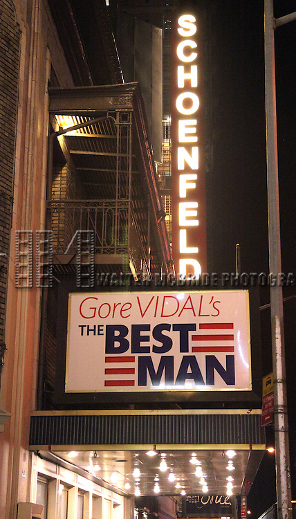 Theatre Marquee for 'Gore Vidal's The Best Man' at .the Schoenfeld Theatre, New York City. 1/29/2012..The star-studded cast includes Candice Bergen, Donna Hanover, James Earl Jones, Angela Lansbury, John Larroquette, Dakin Matthews, Jefferson Mays, Eric McCormack, and Michael McKean.