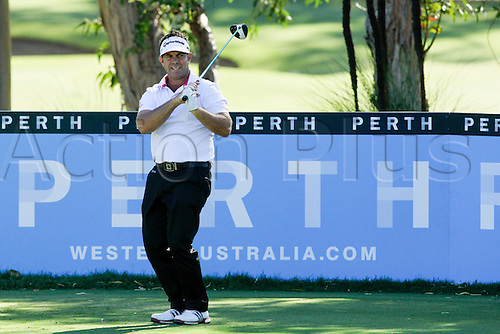26.02.2016. Perth, Australia. ISPS HANDA Perth International Golf. Scott Barr (AUS) reacts to his shot on the 13th tee during day 2.