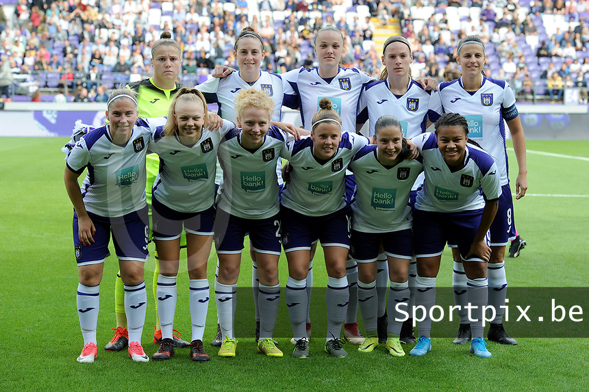 20190813 - ANDERLECHT, BELGIUM : Anderlecht's team pictured during the female soccer game between the Belgian RSCA Ladies – Royal Sporting Club Anderlecht Dames and the Northern Irish Linfield ladies FC , the third and final game for both teams in the Uefa Womens Champions League Qualifying round in group 8 , Tuesday 13 th August 2019 at the Lotto Park Stadium in Anderlecht , Belgium  .  PHOTO SPORTPIX.BE | STIJN AUDOOREN