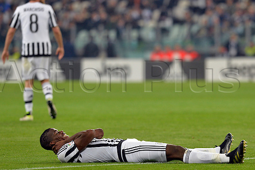 02.04.2016. Juventus Stadium, Turin, Italy. Serie A Football. Juventus versus Empoli. Paul Pogba  reacts to missing a goal opportunity