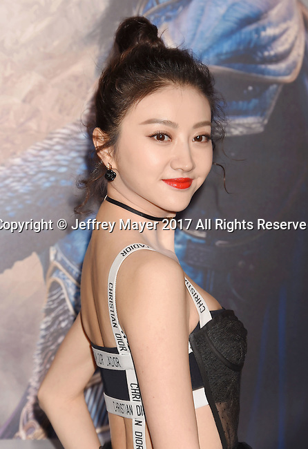 HOLLYWOOD, CA - FEBRUARY 15: Actress Jing Tian arrives at the premiere of Universal Pictures' 'The Great Wall' at TCL Chinese Theatre IMAX on February 15, 2017 in Hollywood, California.