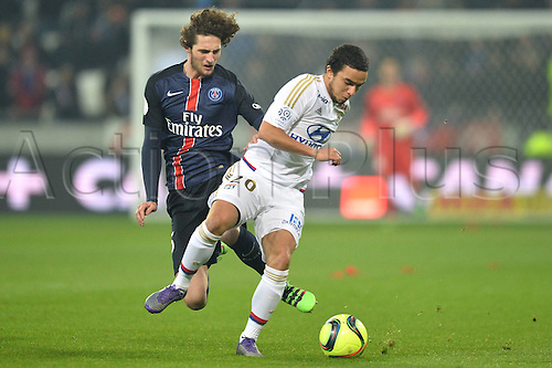 28.02.2016. Lyon, France. French League 1 football. Olympique Lyon versus Paris St Germain.  ADRIEN RABIOT (psg) - RAFAEL (ol)