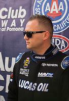 Nov 13, 2016; Pomona, CA, USA; NHRA top fuel driver Richie Crampton during the Auto Club Finals at Auto Club Raceway at Pomona. Mandatory Credit: Mark J. Rebilas-USA TODAY Sports