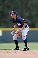 New York Yankees second baseman Gosuke Katoh (33) during an Instructional League game against the Pittsburgh Pirates on September 18, 2014 at the Pirate City in Bradenton, Florida.  (Mike Janes/Four Seam Images)