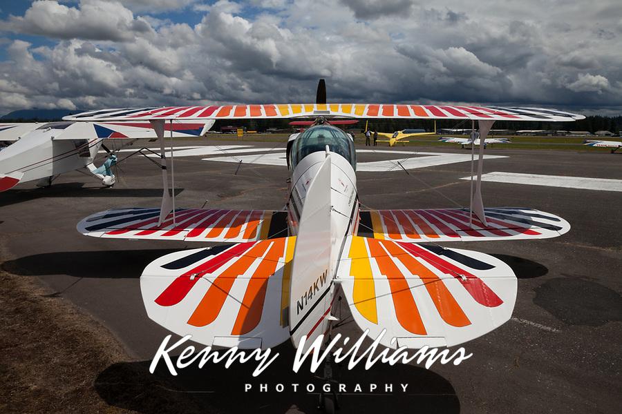 Multicolored White Biplane, Arlington Fly-In 2016, Washington State, USA.