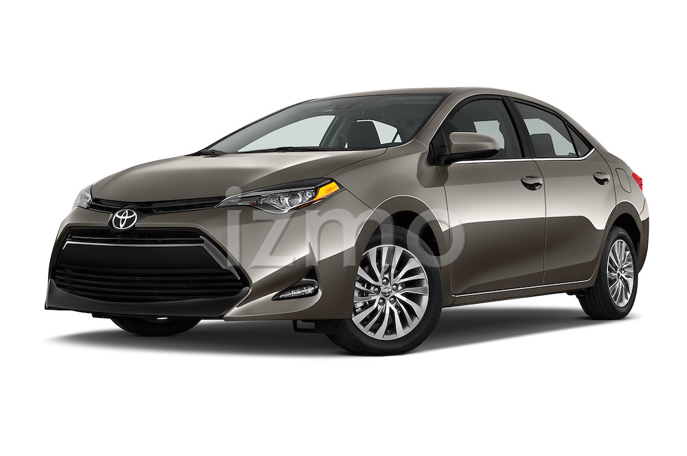 Stock pictures of low aggressive front three quarter view of 2017 Toyota Corolla LE-Eco-AT 4 Door Sedan Low Aggressive