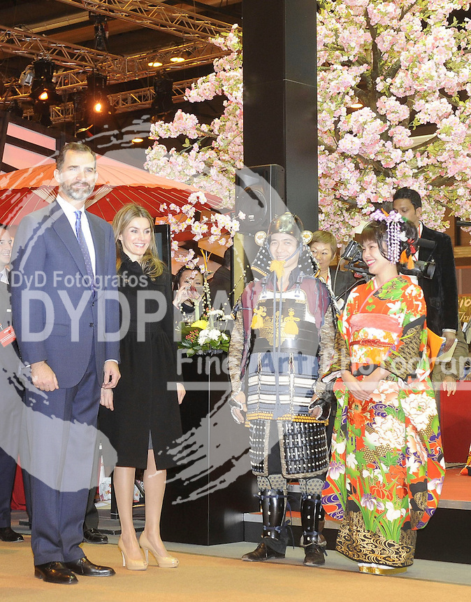 30/01/2013. Madrid. Spain. Ifema. Princes of Asturias Felipe de Borbon and Letizia Ortiz open the FITUR FAIR( international tourist Fair).