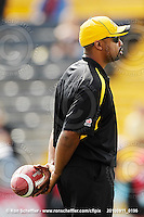 September 11, 2010; Hamilton, ON, CAN; Hamilton Tiger-Cats quarterbacks coach Khari Jones. CFL football: Montreal Alouettes vs. Hamilton Tiger-Cats at Ivor Wynne Stadium. The Alouettes defeated the Tiger-Cats 27-6. Mandatory Credit: Ron Scheffler. Copyright (c) 2010 Ron Scheffler.