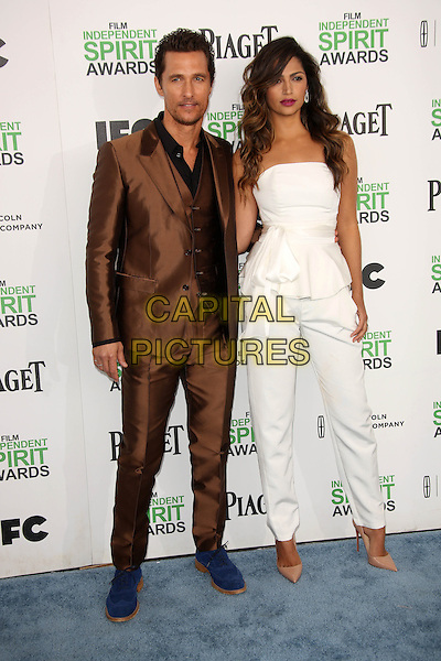 SANTA MONICA, CA - March 01: Matthew McConaughey, Camila Alves at the 2014 Film Independent Spirit Awards Arrivals, Santa Monica Beach, Santa Monica,  March 01, 2014. Credit: Janice Ogata/MediaPunch<br /> CAP/MPI/JO<br /> &copy;JO/MPI/Capital Pictures