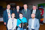 Winner<br /> ----------<br /> Bryan O'Leary,Gneeveguilla (seated centre)was the overall winner of the Sliabh Luachra young musician of the year award held at the Scartaglen community centre last Saturday night,also seated left is Kate Kennelly,Arts officer of the Kerry County Council and Ian McDonnagh,Cork arts.Back L-r JJ Culloty,Killarney Mayor,Sean Kelly,MEP,Minister Jimmy Denahan and Tim Collins,North Cork district Mayor.