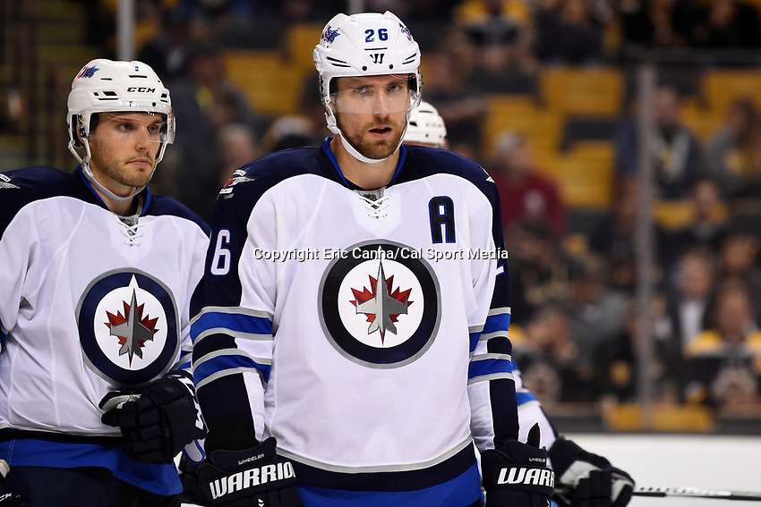 Thursday, October 8, 2015: Winnipeg Jets right wing Blake Wheeler (26) waits for a face off during the NHL game between the Winnipeg Jets and the Boston Bruins held at TD Garden, in Boston, Massachusetts. Winnipeg defeated Boston 6-2 in regulation time. Eric Canha/CSM