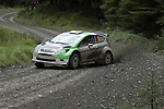 14th September 2012 - Devils Bridge - Mid Wales : WRC Wales Rally GB SS6 Myherin stage :  Edoardo Bresolin and co driver Rudy Pollet of Italy in their Ford Fiesta RRC.