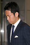 """Japan national football team, Maya Yoshida, June 27, 2014, Chiba, Japan - Maya Yoshida arrives at Narita International Airport with members of the Japan national football team. Members of the Japan national football team arrives at Narita with a disappointed look on their faces. They couldn't advance to the final 16 in """"2014 FIFA World Cup Brazil"""" and came back earlier. (Photo by Rodrigo Reyes Marin/AFLO)"""
