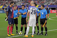Arlington, TX - Saturday July 22, 2017: Bryan Ruiz and Michael Bradley during a 2017 Gold Cup Semifinal match between the men's national teams of the United States (USA) and Costa Rica (CRC) at AT&T stadium.