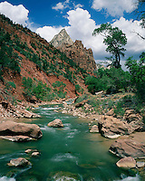 The Virgin River flowing below the Court of the Patriarchs; Zion National Park, UT