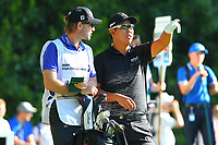 Byeong Hun An talks to his caddy on the #2 tee during the BMW PGA Golf Championship at Wentworth Golf Course, Wentworth Drive, Virginia Water, England on 26 May 2017. Photo by Steve McCarthy/PRiME Media Images.