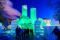 2018 Saint Paul Winter Carnival Ice Palace with green lighting. The ice palace was built in Rice Park downtown St. Paul, Minnesota.