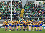 The Clare team stand for the anthem before their Munster Championship semi-final at Thurles.  Photograph by John Kelly.