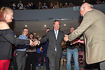 Brexit Party EU elections campaign launch at  The Neon in Newport, South Wales. Brexit Party Leader Nigel Farage shakes hands with supporters as he makes his way to the stage.