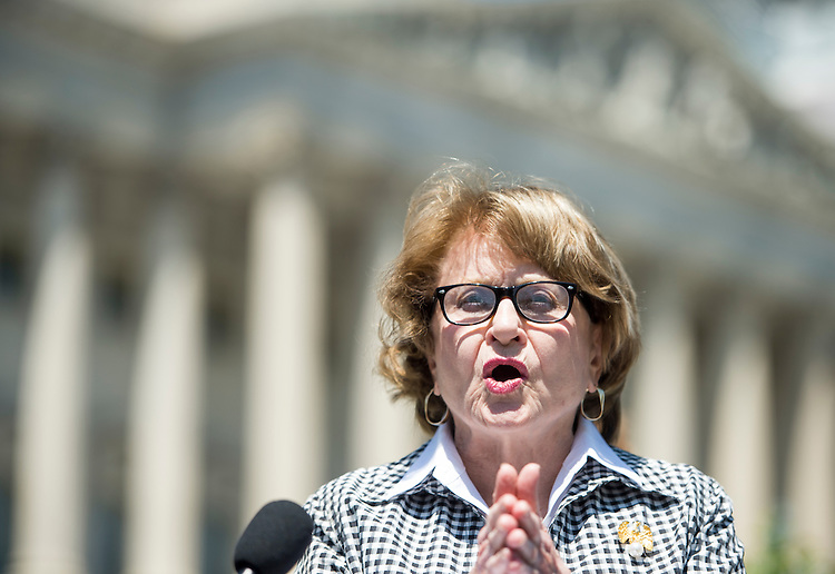 WASHINGTON, DC - MAY 14: Rep. Louise Slaughter, D-N.Y., participates in a news conference at the House Triangle to call for the release of the food safety chapter of the Trans-Pacific Partnership on Thursday, May 14, 2015. (Photo By Bill Clark/CQ Roll Call)