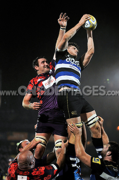 Pat Jenkinson of Bath United wins the ball at a lineout. Remembrance Rugby match, between Bath United and UK Armed Forces on November 9, 2015 at the Recreation Ground in Bath, England. Photo by: Patrick Khachfe / Onside Images