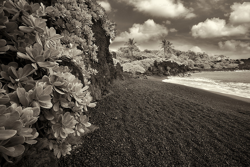 Pa'iloa Black Sand Beach at Wai'anapanapa State Wayside Park. Maui, Hawaii