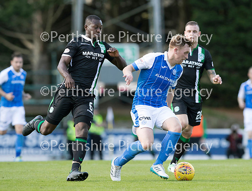 St Johnstone v Hibs &hellip;09.09.17&hellip; McDiarmid Park&hellip; SPFL<br />Liam Craig holds off Marvin Bartley<br />Picture by Graeme Hart.<br />Copyright Perthshire Picture Agency<br />Tel: 01738 623350  Mobile: 07990 594431