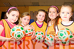 ON THE BALL: Ciara O'Sullivan, Lucy Keane, Alanah Collins, Becky O'Connor and Ailísa Ahern at the sports summer camp in Athea Community Hall last Friday.
