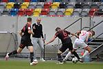 Heiko HERRLICH  (Trainer FC Augsburg) gestikuliert,<br />waehren der Jeffrey GOUWELEEUW (Augsburg) <br />und Andre HAHN (FC Augsburg) beim Zweikampf beobachtet.<br /><br />Fussball 1. Bundesliga, 33.Spieltag, Fortuna Duesseldorf (D) -  FC Augsburg (A), am 20.06.2020 in Duesseldorf/ Deutschland. <br /><br />Foto: AnkeWaelischmiller/Sven Simon/ Pool/ via Meuter/Nordphoto<br /><br /># Editorial use only #<br /># DFL regulations prohibit any use of photographs as image sequences and/or quasi-video #<br /># National and international news- agencies out #