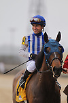 March 14, 2015: Jockey Luis Quinonez aboard Gold Medal Dancer is all smiles after winning the Azeri Stakes at Oaklawn Park in Hot Springs, AR. Justin Manning/ESW/CSM