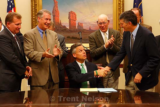 Utah Governor Jon Huntsman press conference to sign new tax bill<br />